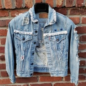 Levi's Jean Jacket Bedazzled Lace